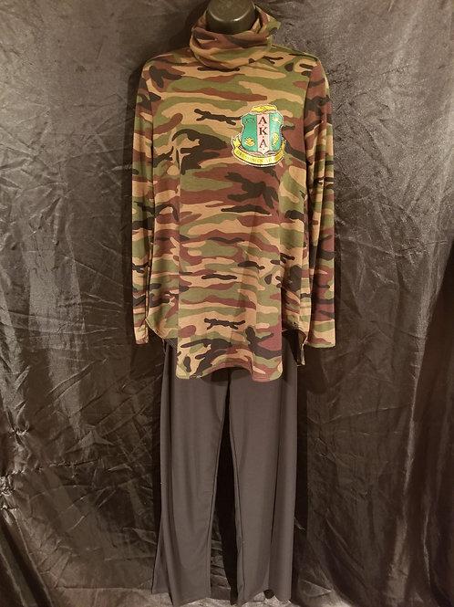 Camo Loungewear Set- Cowl Neck Tunic