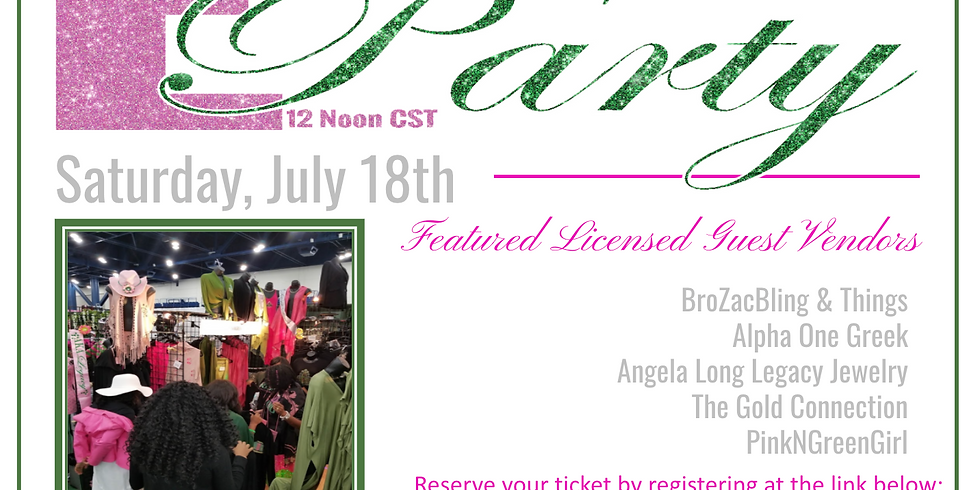 PinkNGreenGirl E-Party - SATURDAY w/the Sorors Zoom@Noon