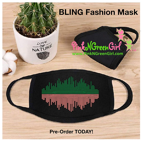 Fashion PinkNGreen BLING Mask (No Letters)