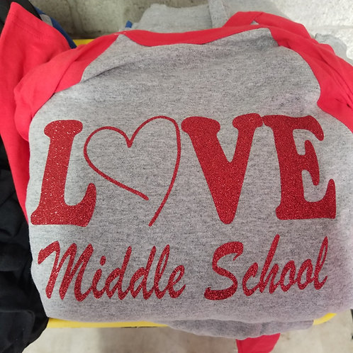 Love Middle School Jersey - Choose Color Sleeve