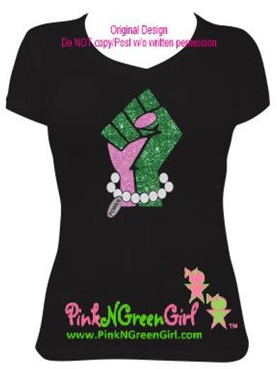 Raised Fist Tshirt - Pink/Green
