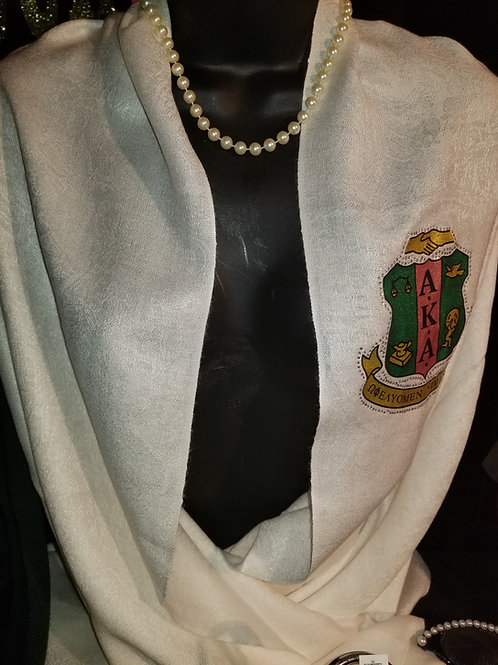 Pearl White Pashmina (with AKA Crest Patch)