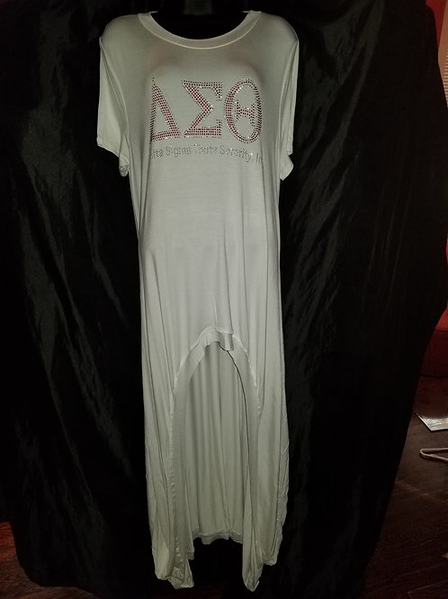 High Low White Duster  with DST Greek Letters