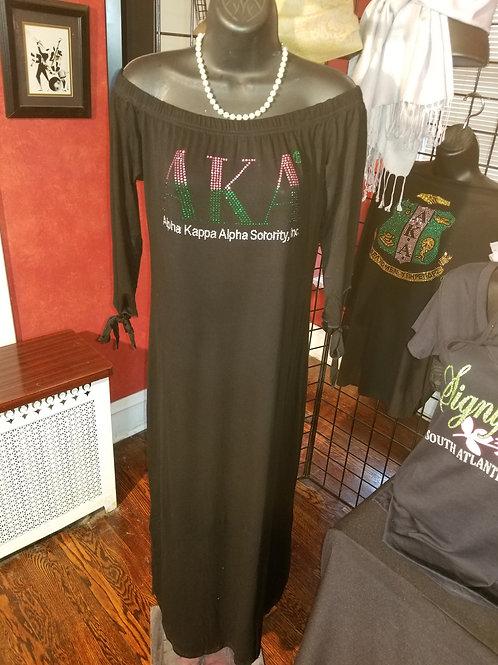 "BLACK Off-Shoulder Long Maxi Dress ""AKA"" Rhinestone"
