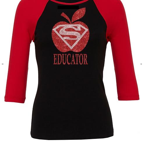 Black/Red Jersey Super EDUCATOR - Glitter/Rhinestone