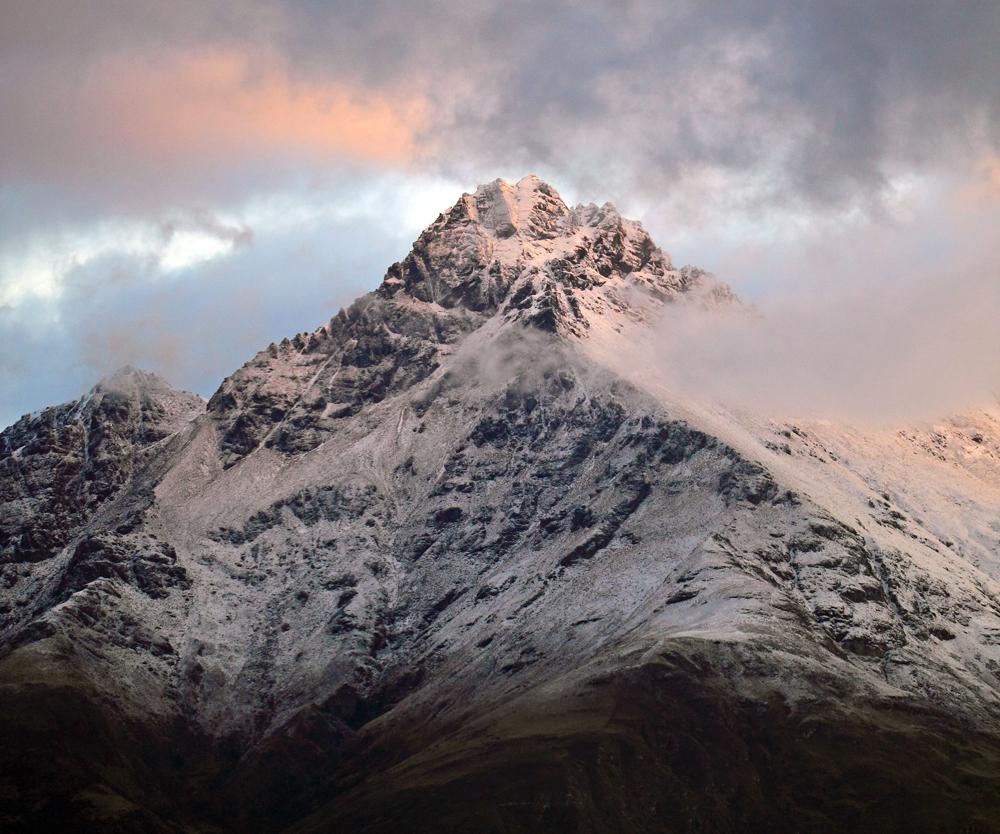 Mountain peaks everywhere you look.