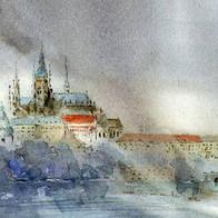 President`s Residence & St. Vita Cathedral. Praha, Czech Republic
