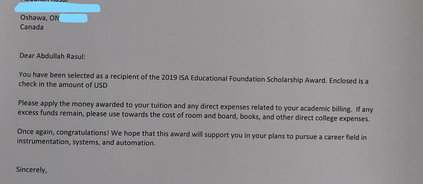 Abdullah has received the 2019 ISA Scholarship Award!