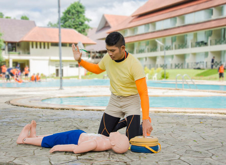 First Aid CPR AED | Swimmer's heart stops in pool and entire school trains in CPR