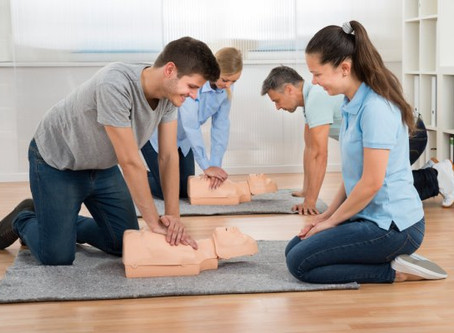 CPR AED | School nurse and staff perform CPR and use AED to save co-worker's life