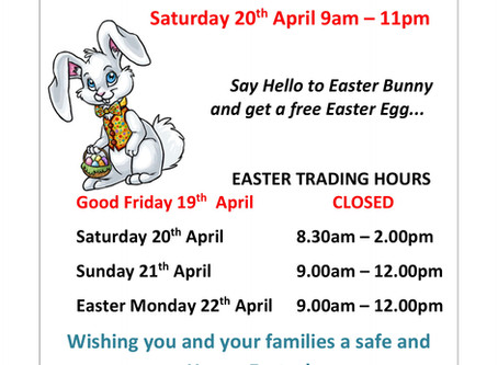EASTER BUNNY IS COMING TO MUZZYS HARDWARE . . .
