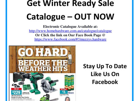 Get Ready for Winter Sale - 18th May to 5th June Only . . .