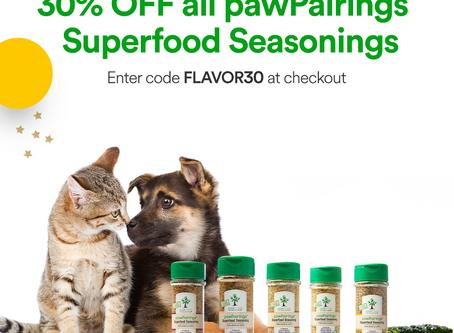 Flash Sale! 30% off pawPairings Superfood Seasoning.