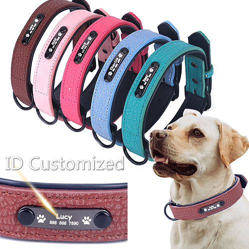 Personalized Cat & Dog Collars Adjustable Soft Leather