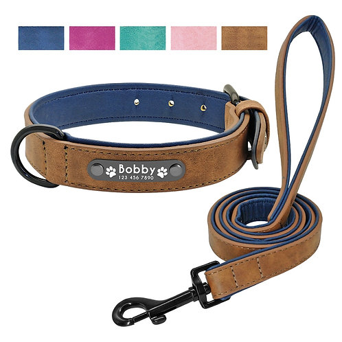 Personalized  Dogs Collars 2 Layer Leather Dog Leash