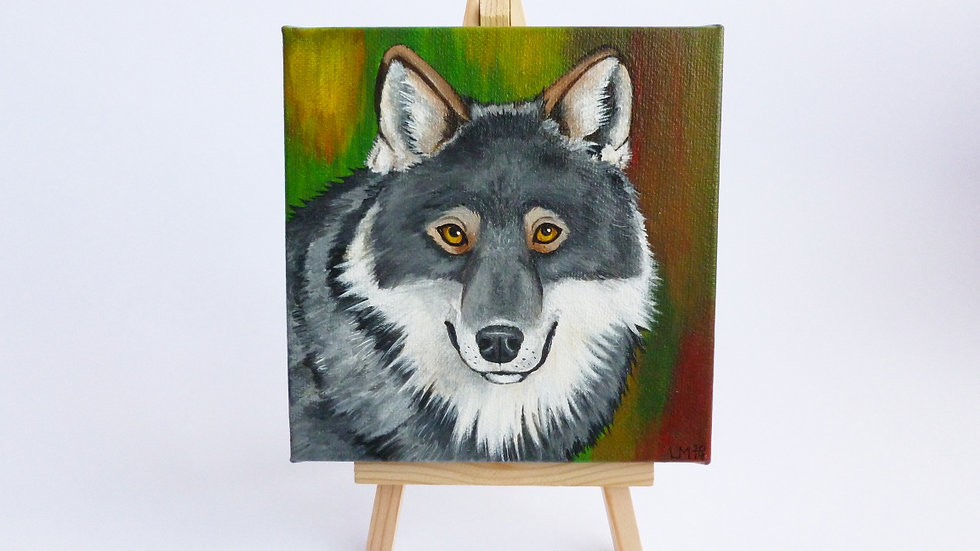 Grey Wolf Original Acrylic Painting