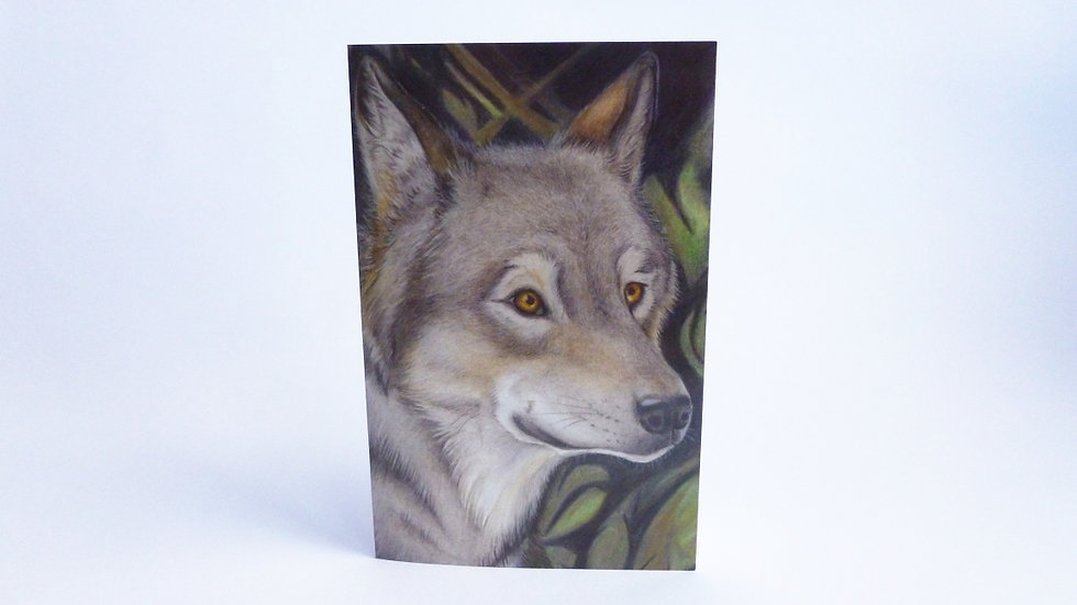 Grey Wolf Greetings Card