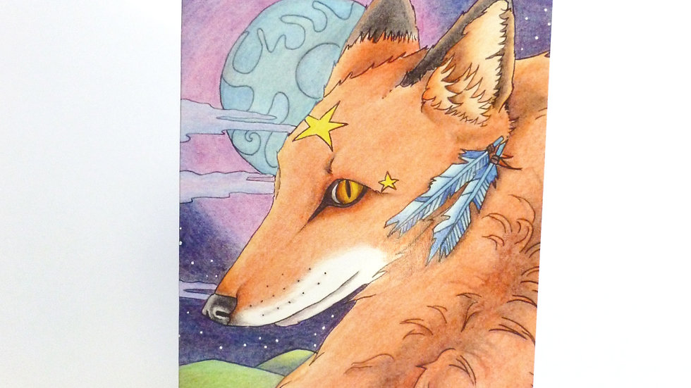 Red Fox and Moon Greetings Card