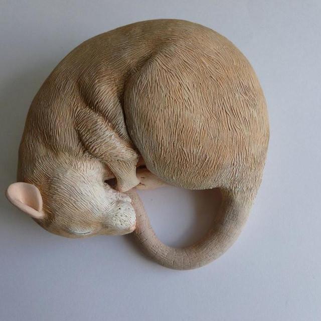 Sleeping Fancy Rat Sculpture