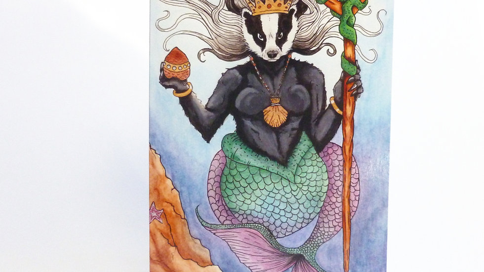 Queen of the Sea Badgers Greetings Card