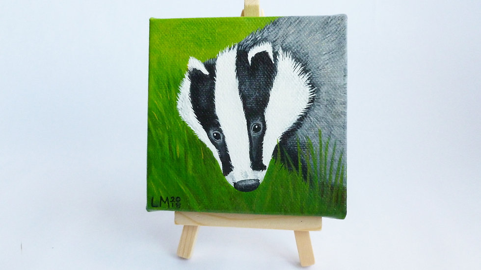 Badger Small Acrylic Painting