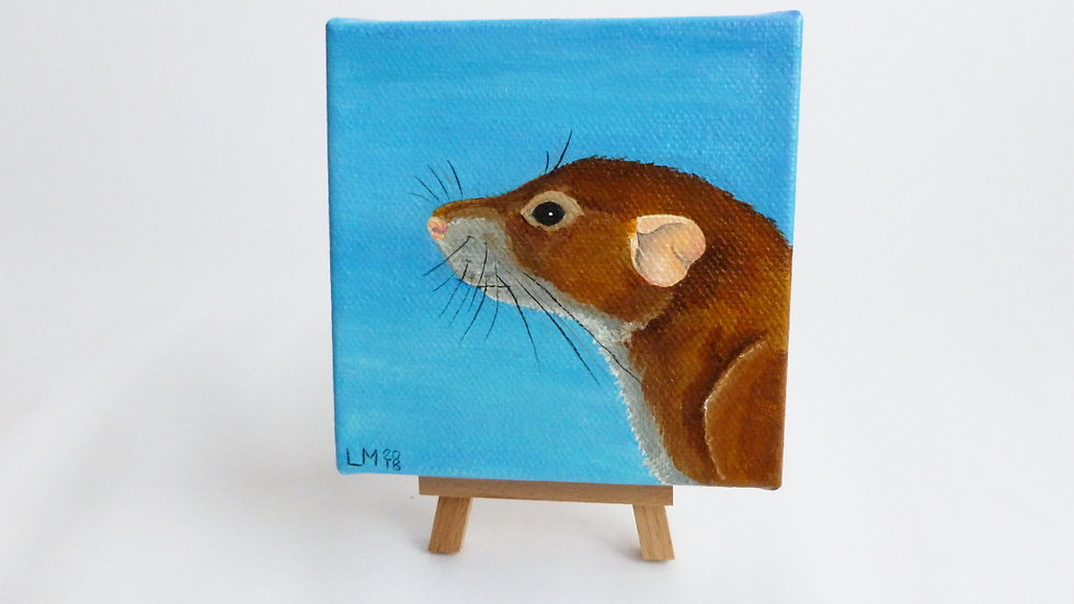 Original Agouti Dumbo Rat Acrylic Painting On Canvas
