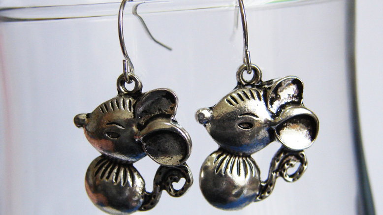 Silver Coloured Rat / Mouse Earrings