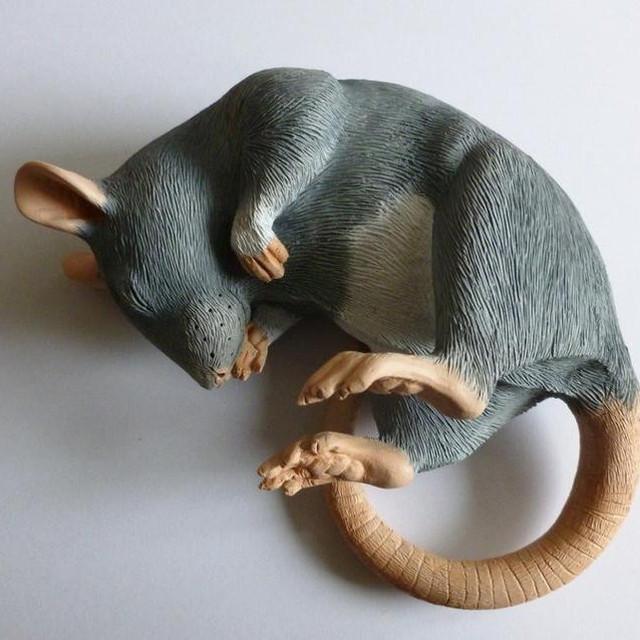 Sleeping Blue Fancy Rat Sculpture