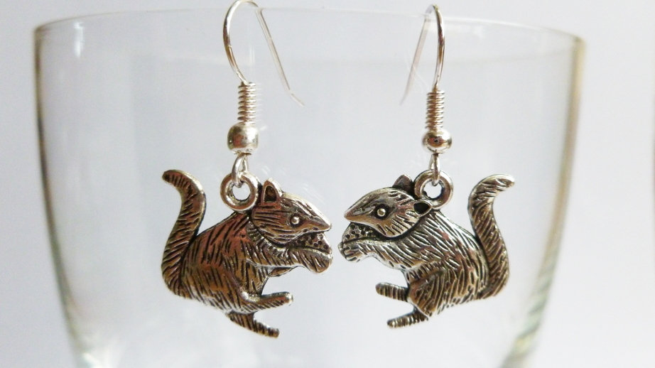 Silver Coloured Squirrel / Rat Earrings