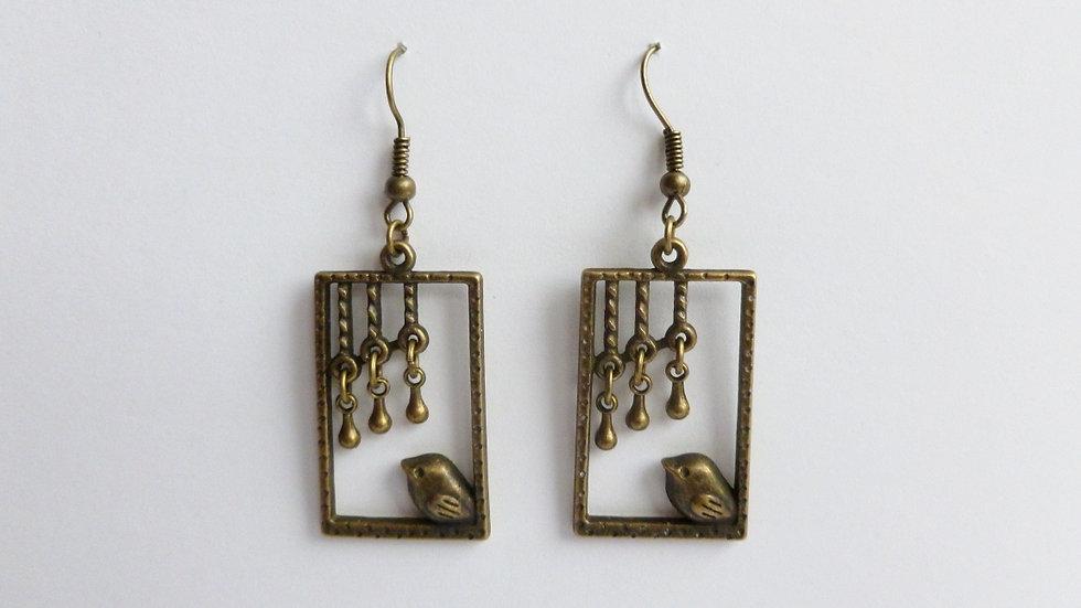 Bronze Coloured Bird Rectangle Earrings