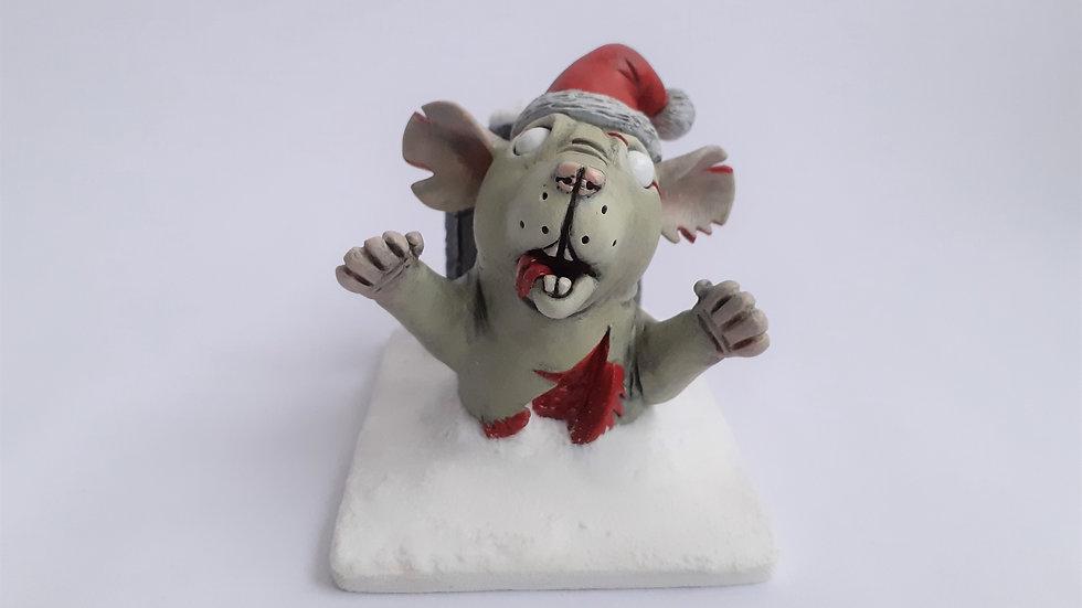 Dumbo Ear Christmas Grave Popper Zombie Rat Sculpture