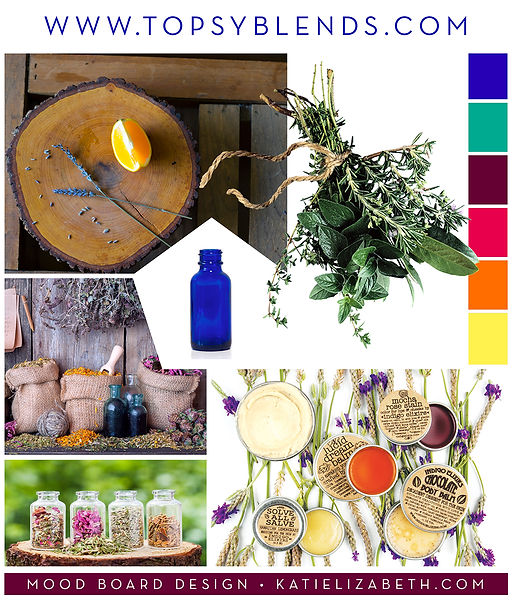 Mood Board for Topsy Blends essential oil blends