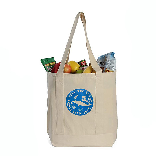 EcoGeneration Cotton Canvas Shopping Tote - Blue Narwhal Imprint
