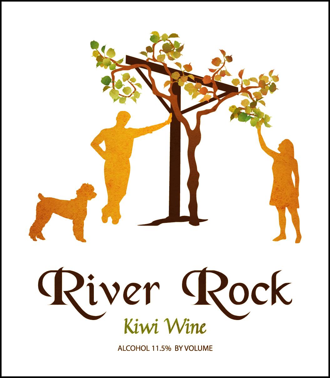 River Rock Kiwi Wine Labeltexture