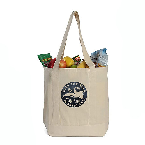 EcoGeneration Cotton Canvas Shopping Tote - Black Killer Whale Imprint