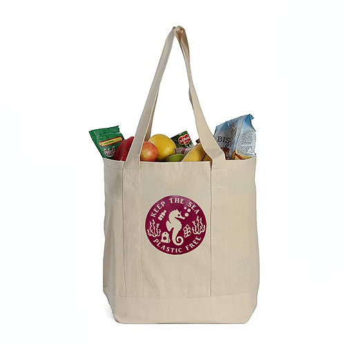 EcoGeneration Cotton Canvas Shopping Tote - Maroon Seahorse Imprint