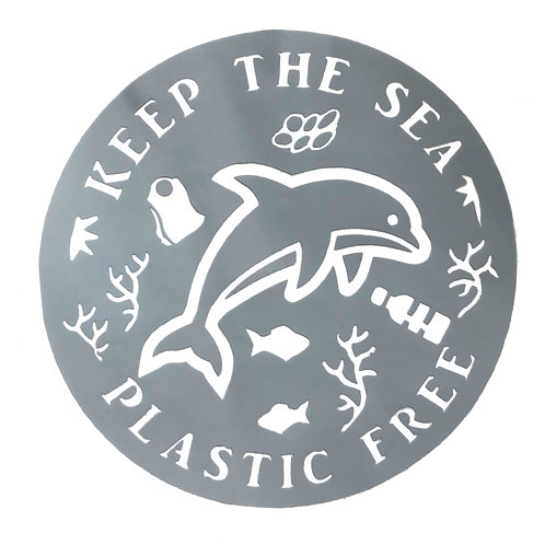"""4"""" Decal - Keep the Sea Plastic Free, Grey Dolphin"""