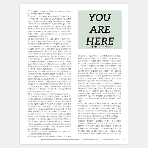 Eugene Health Guide 1/6 Page Display Ad