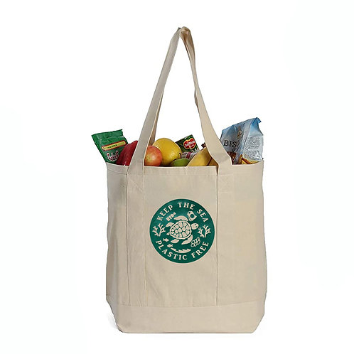 EcoGeneration Cotton Canvas Shopping Tote - Green Turtle Imprint
