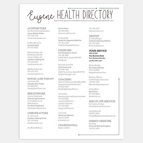 Eugene Health Guide Simple Listing Print & Online Directory