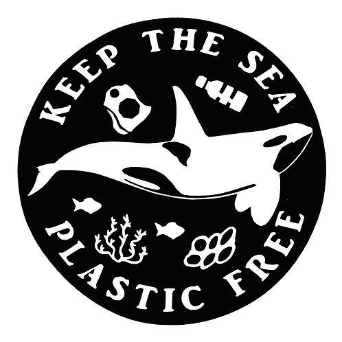"4"" Decal - Keep the Sea Plastic Free, Black Orca"