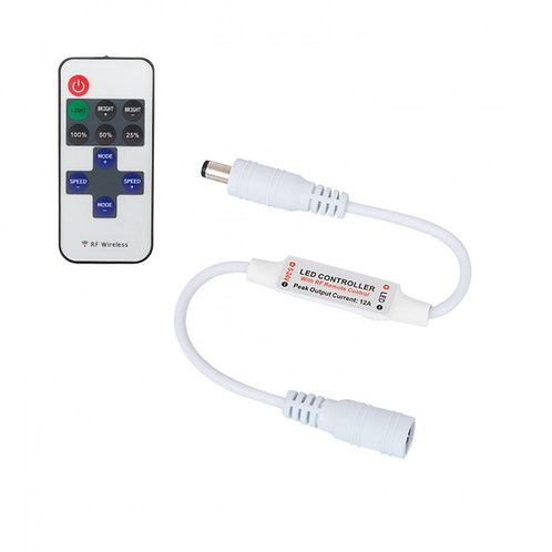 Mini Controleur Ruban LED Monochrome 12/24V, Dimmable avec télécommande RF 10 To