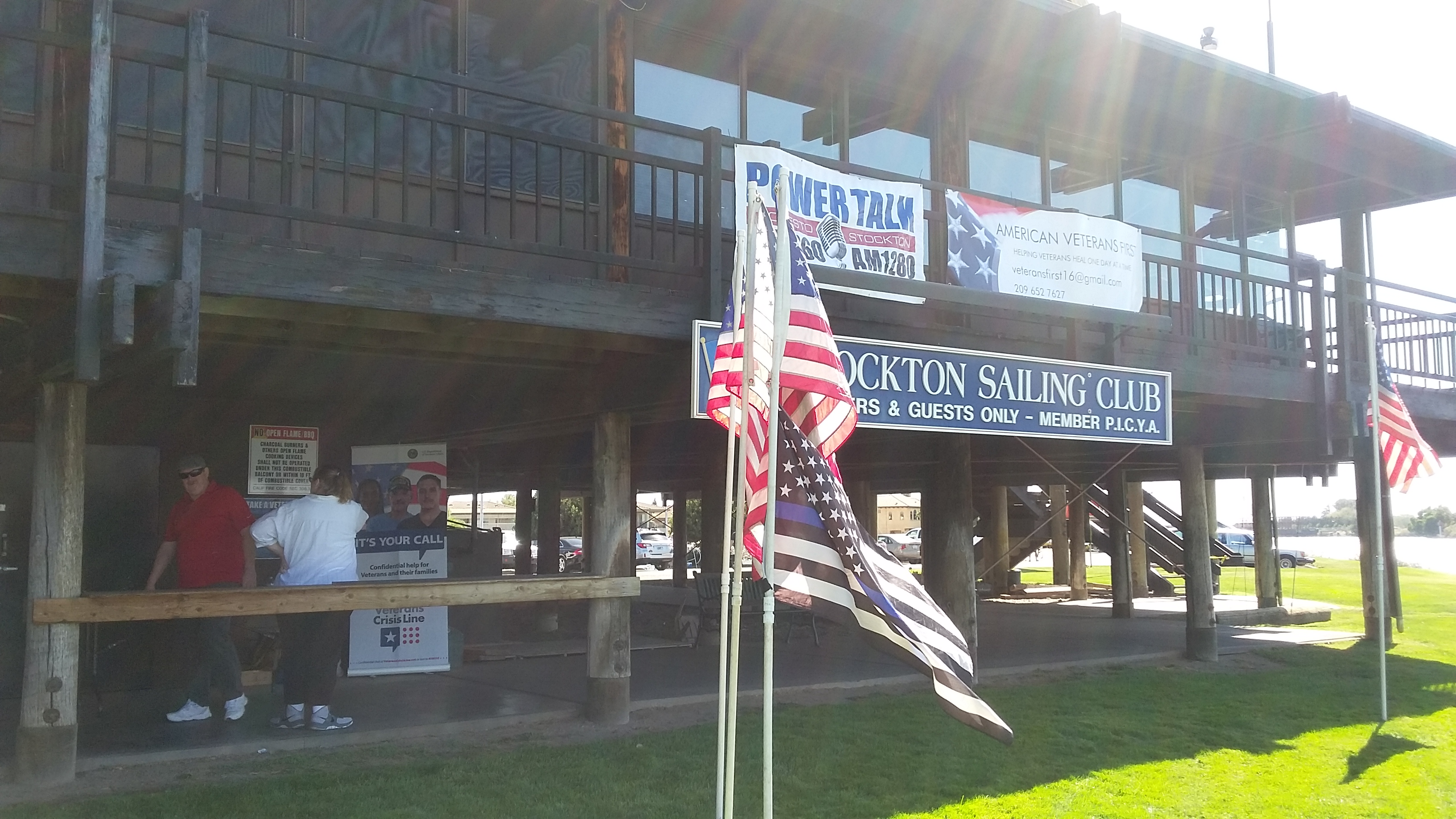 Veterans' Sail to Recovery - Flags + Signs UP
