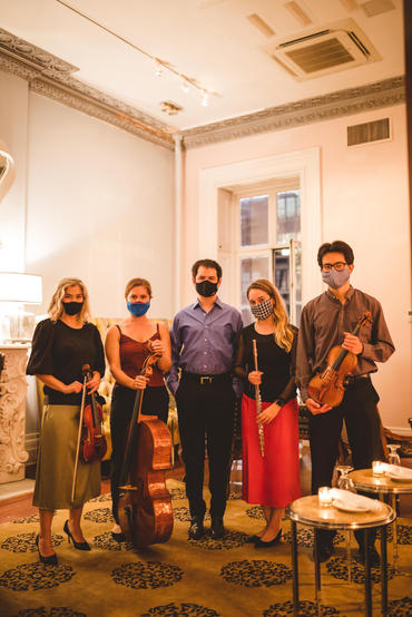 Sonora Collective musicians Julia Danitz, Clare Monfredo, Santiago Lomelin, Katie Althen, and Jeremías Sergiani-Velázquez