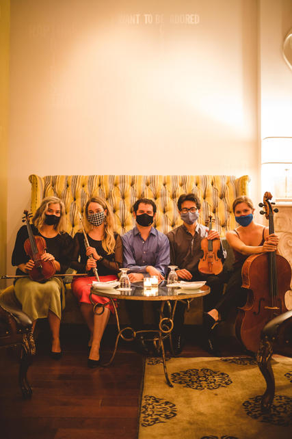 Sonora Collective musicians Julia Danitz, Katie Althen, Santiago Lomelin, Jeremías Sergiani-Velázquez, and Clare Monfredo