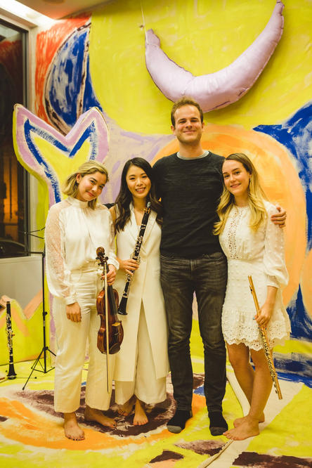 Julia, Amy, and Katie with composer Jack Frerer