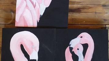 Flamingo tryptich