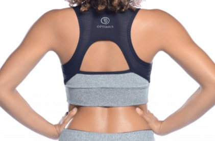 OPTIMUS SPORTSWEAR BLACK/GRAY MESH SPORT BRA