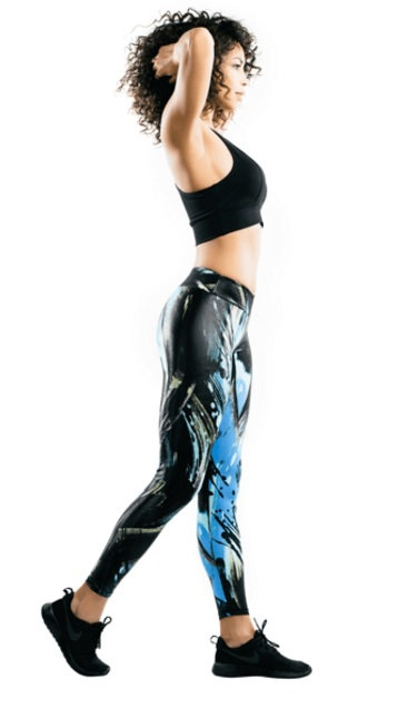OPTIMUS SPORTSWEAR BLACK SPLASH WORKOUT LEGGINGS