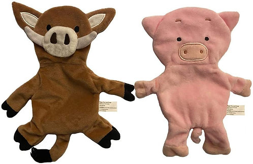 Pig & Boar Paper Crinkle Squeaker Toy Set - Light Weight - Easy to Flip & Shake